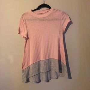 Knit pink and grey top